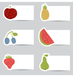 Doodle fruits cards in retro colors vector image
