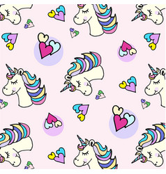 doodle pattern unicorn head and heart vector image