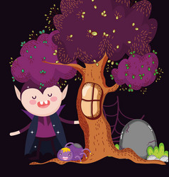 dracula with spider tree halloween vector image
