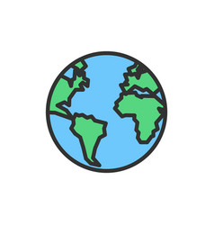 earth globe planet flat color line icon vector image