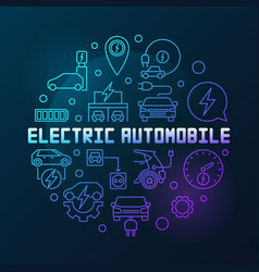 electric automobile round colorful outline vector image