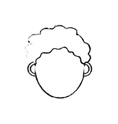 figure man head with closed eyes and hairstyle vector image