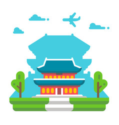flat design gyeongbokgung palace seoul vector image