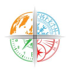 Four pieces circle design wallpaper vector