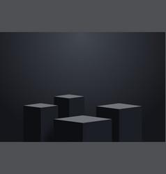 four realistic dark platform empty stage vector image