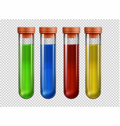 Four testtubes filled with colorful liquid vector