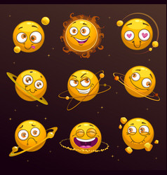 funny cartoon yellow planets with comic faces vector image