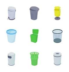 Garbage icons set cartoon style vector
