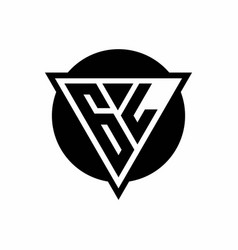 gl logo with negative space triangle and circle vector image