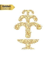 Gold glitter icon of fountain isolated on vector