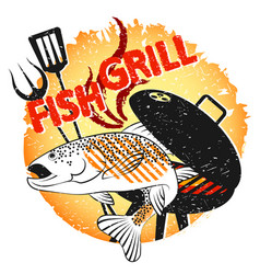 grill fish design for barbecue vector image