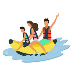happy family riding on inflatable banana on sea vector image