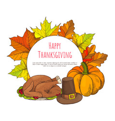 happy thanksgiving poster and turkey dish vector image
