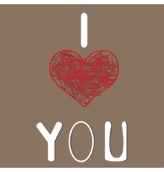 I love you Heart for Valentines Day Design vector image