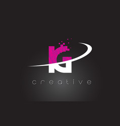 Ig i q creative letters design with white pink vector