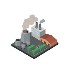 Industrial factory with pipes isometric 3d element vector