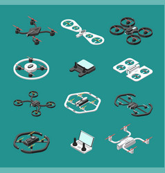 Isometric 3d drones uav unmanned aircrafts vector