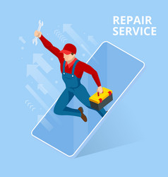 isometric home repair and renewal service call vector image