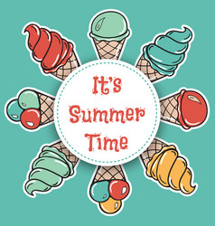 it is summer time hand drawn summer time circle vector image