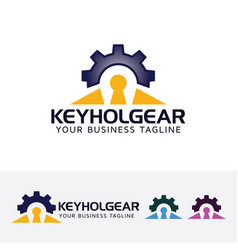 keyhole gear logo design vector image