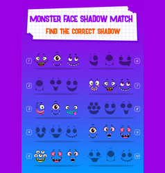 Kids game riddle shadow match monster faces vector