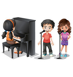 Kids singing and playing piano vector image