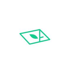 leaf plant logo icon line art outline monoline vector image