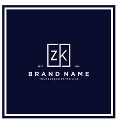 Letter zk square logo design concept vector