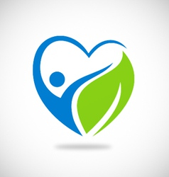 love green leaf environment logo vector image