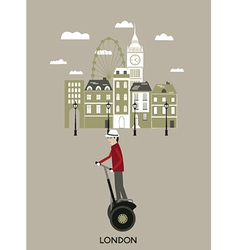 Man riding a segway London vector