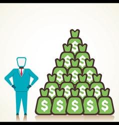 men with lots of money vector image