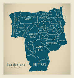Modern city map - sunderland city of england with vector