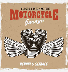 motorcycle engine with wings retro colored poster vector image