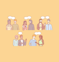 Multicultural people communicate together vector