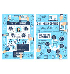 online shopping and e-commerce business vector image