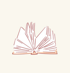 Opened book hand drawn style doodle design vector