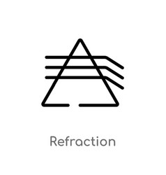 Outline refraction icon isolated black simple vector