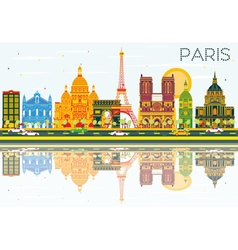 Paris Skyline with Color Buildings vector image