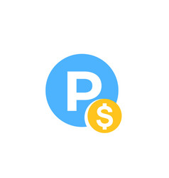 Parking pay icon vector