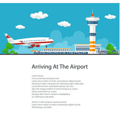 passenger plane comes in to land poster design vector image
