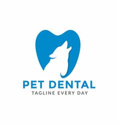 Pets dental care logo design vector