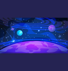 Planet space background sky galaxy universe flat vector