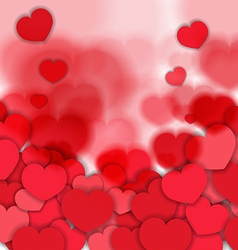 Red Blurred Hearts Background vector image