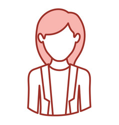 red contour of half body of faceless woman with vector image