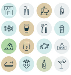 Restaurant icons set includes icons such as hooch vector