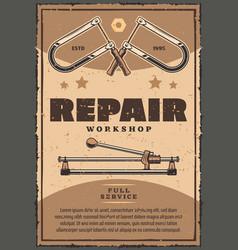 Retro poster of repair work tools vector