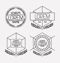 retro vintage insignias sketch set in monochrome vector image