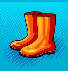 Rubber boots pop art style vector