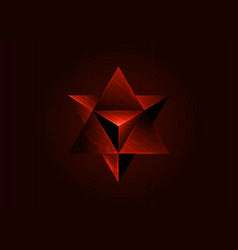 Sacred geometry 3d red merkaba solid geometric vector
