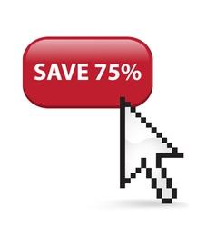 Save 75 Button Click vector